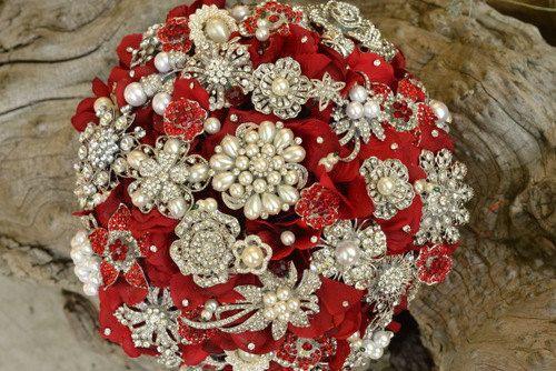 a ruby red heirloom brooch bridal bouquet by Noaki.