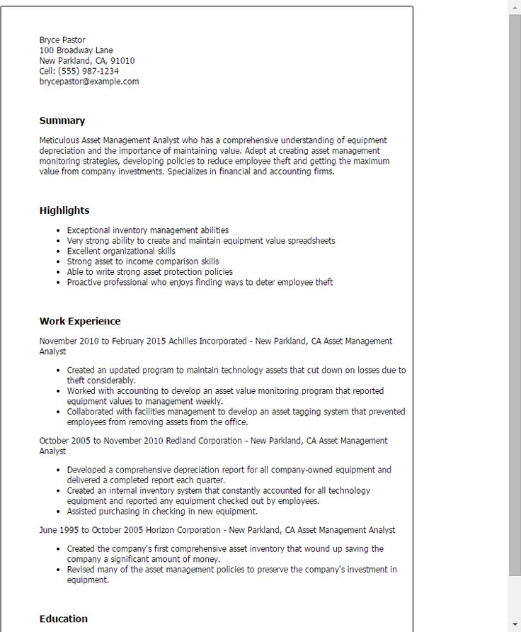 Resume Templates: Asset Management Analyst