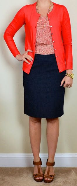 red cardigan, floral blouse and navy pencil skirt
