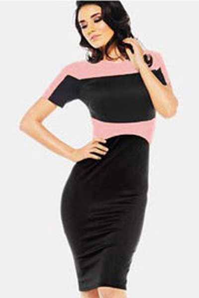 Black Pink Color Block Pencil Style Midi Dress