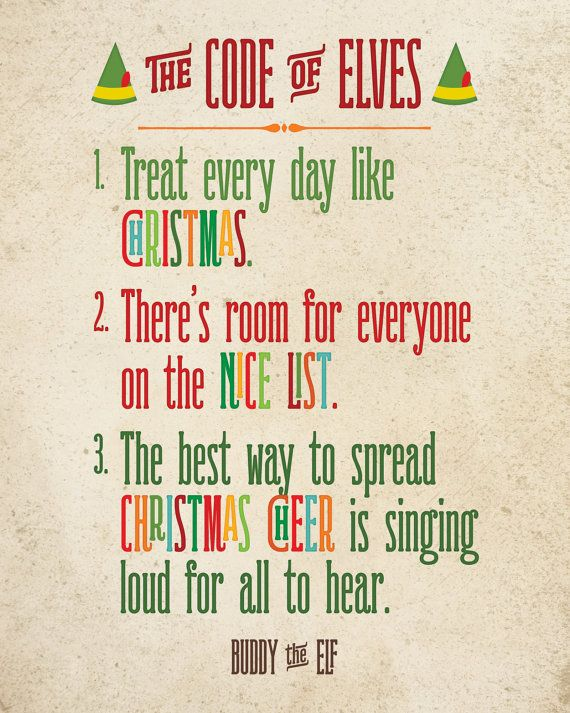 Buddy the Elf The Code of Elves Printable Art by NoondaybyTracey