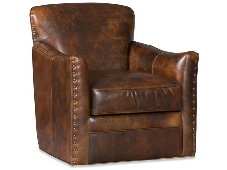 A leather club chair may be the ultimate seating for the Big Game. Photo: Luna Swivel Tub Chair by Bradington-Young.