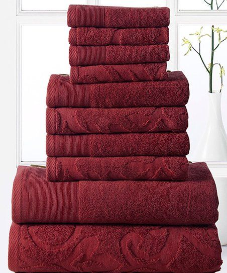 Affinity Linens Biking Red Elegance 10-Piece Cotton Towel Set | zulily