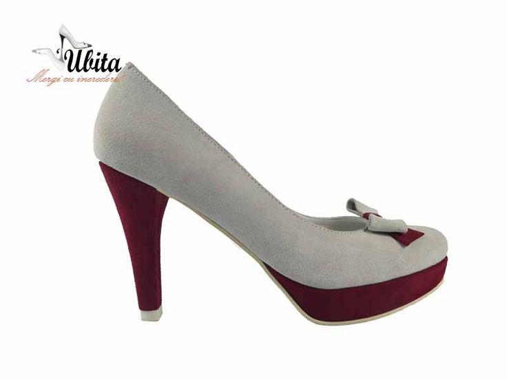 Poze Pantofi dama cu platforma cu fundita frontala si toc Harra