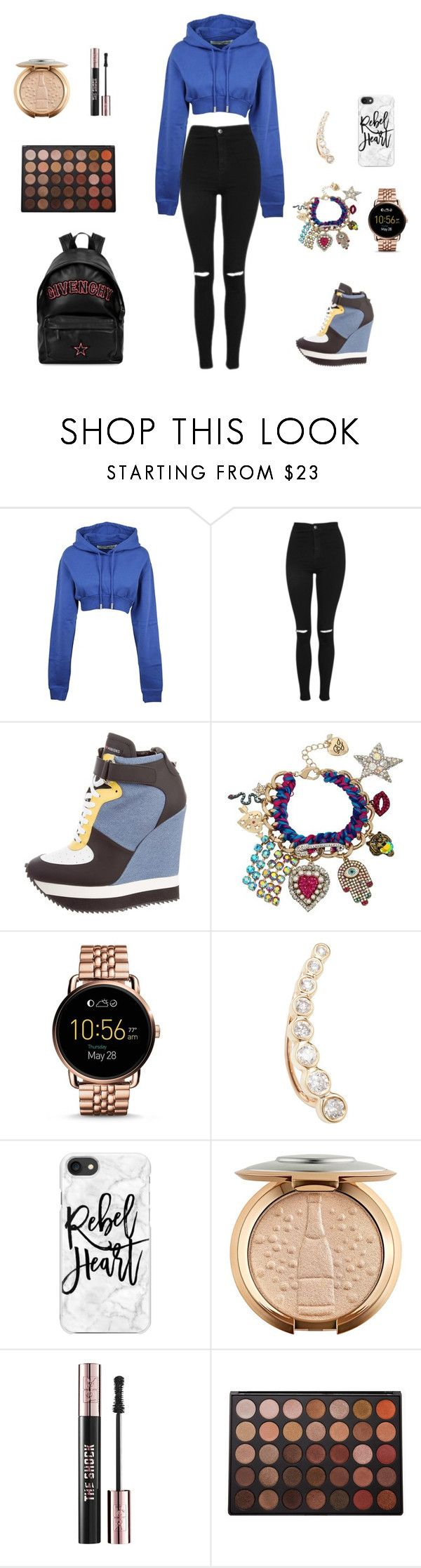 """Untitled #486"" by mriechou ❤ liked on Polyvore featuring Off-White, Topshop, Ruthie Davis, Betsey Johnson, FOSSIL, Shay, Casetify, Yves Saint Laurent, Morphe and Givenchy"