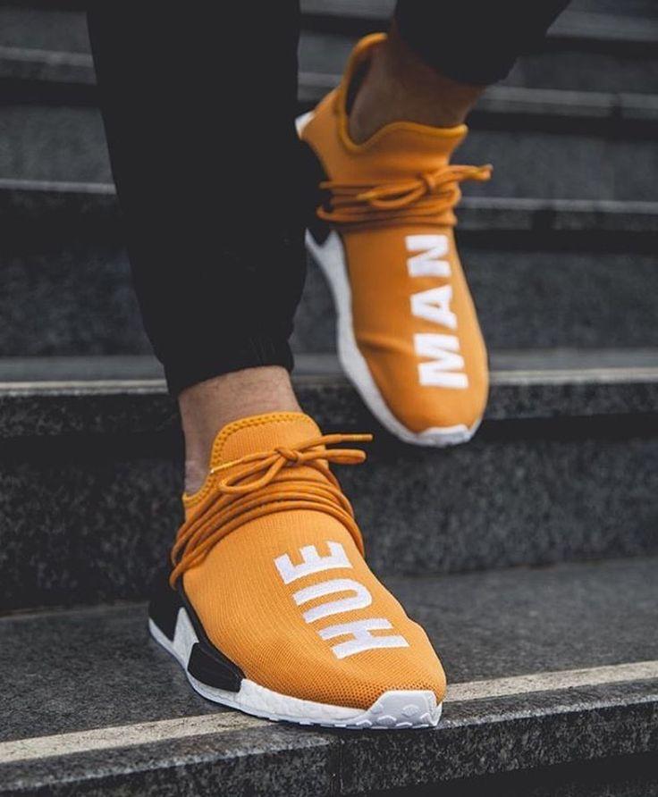 "Adidas NMD x Pharrell Williams. Tangerine (orange) ""Hu"". 28/09/16."