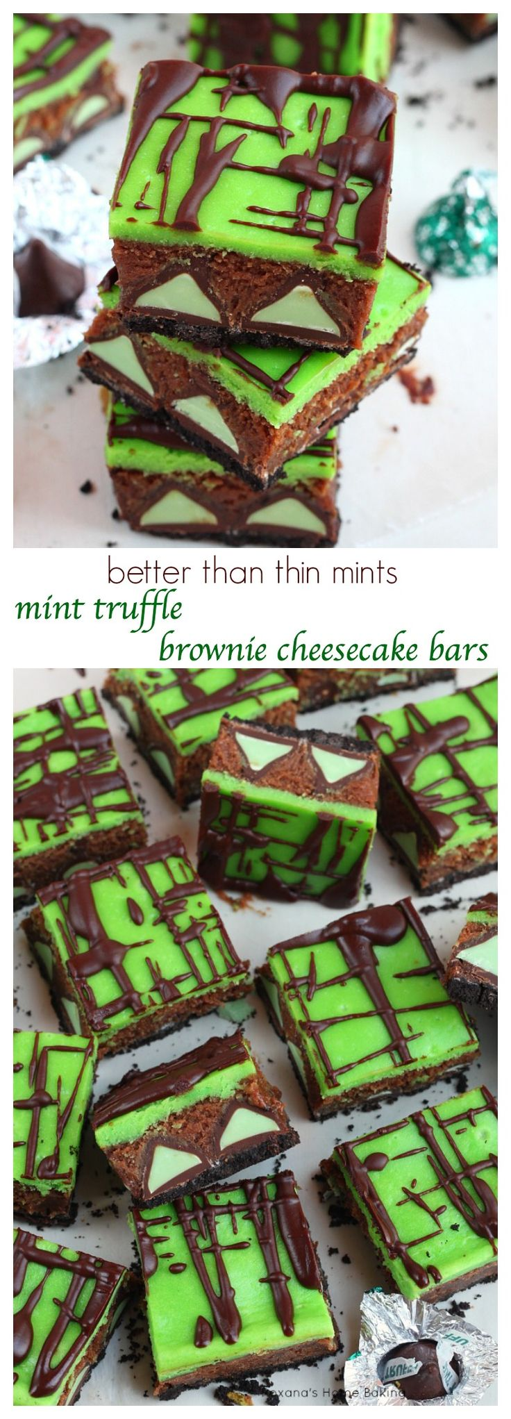 Over the top fudge brownies packed with mint truffles and a layer of creamy cheesecake, these brownie cheesecake bars are better than any mint patties you ever had!