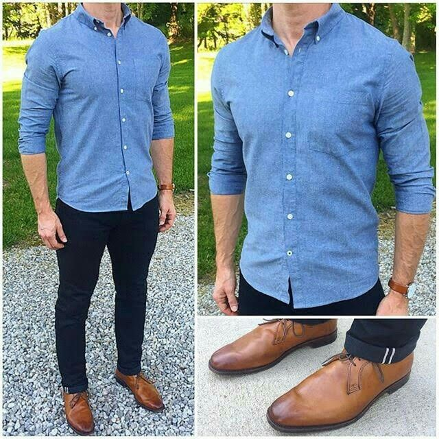 online sale official images fast delivery Outfit | outfit in 2019 | Blue shirt outfit men, Denim shirt ...
