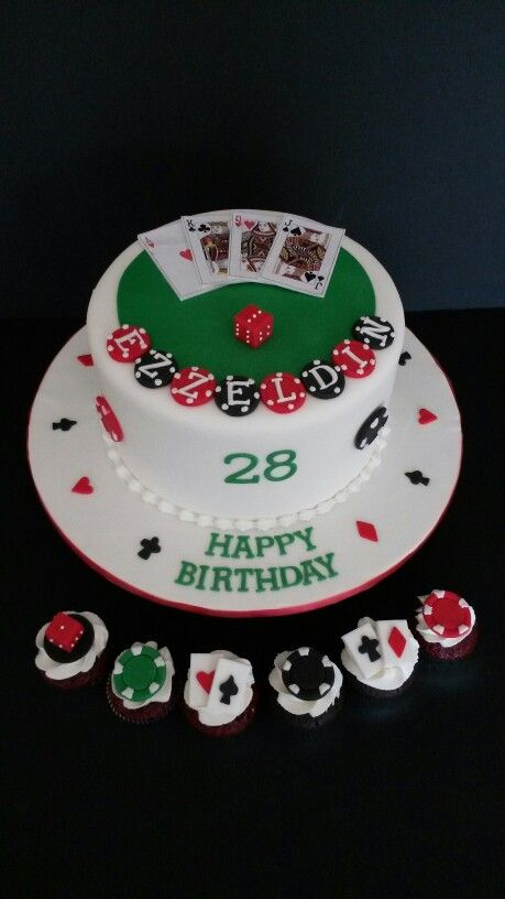 Poker Theme Cake and Cupcakes