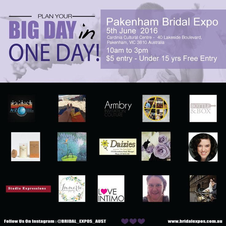 Here are just some of our amazing exhibitors! A to Z Disco Services, Carmen Pizzo-Arbonne Independent Consultant, Armbry Invitation Couture, Atura Dandenong, Bottle & Box, Branch + Bel, Darling Buds, #Daizies, Dettie's Unique Cake Designs, Emotif Photography, #StudioExpressions, Immerse Photography, Intimo Lingerie, Bec Crawford - Independent Jamberry Consultant, Jordan Of Melbourne