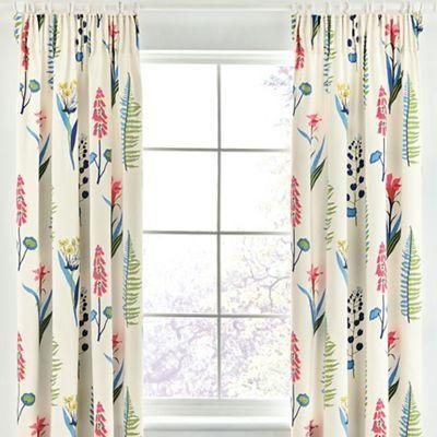 cotton sateen u0027floral bazaaru0027 lined curtains