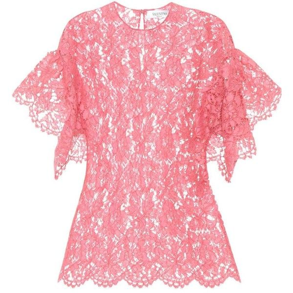 Valentino Lace Top ($1,525) ❤ liked on Polyvore featuring tops, pink, lacy tops, lace top, red top, pink top and pink lace top