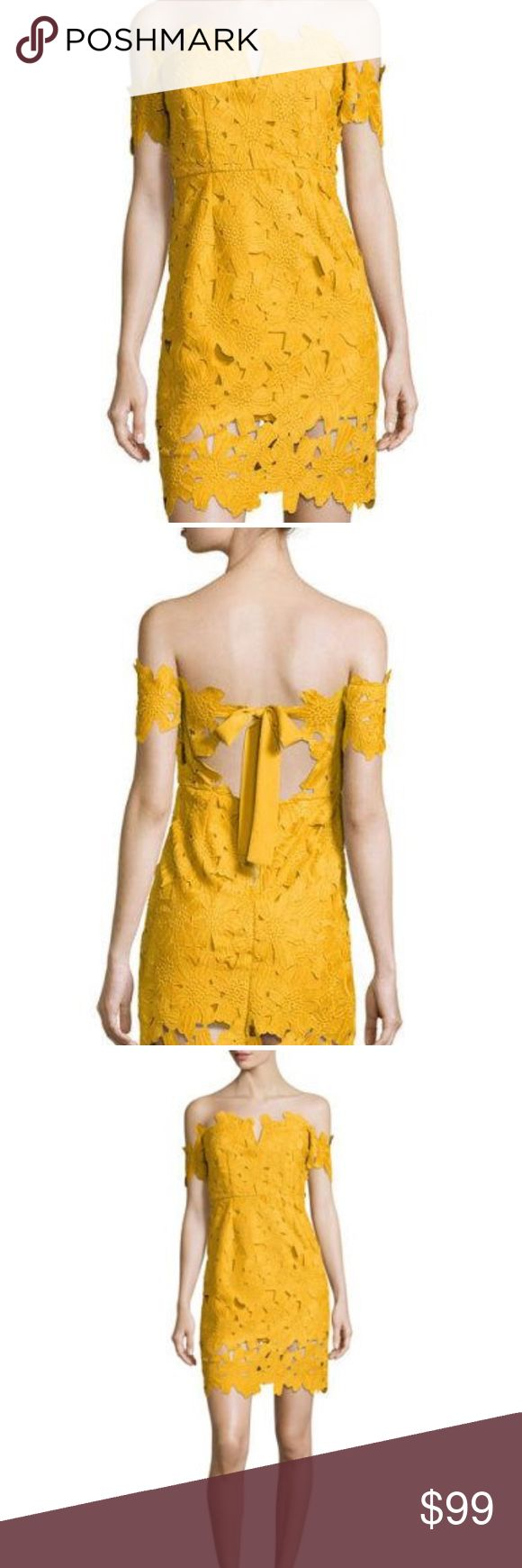Yellow stretch eyelet lace dress
