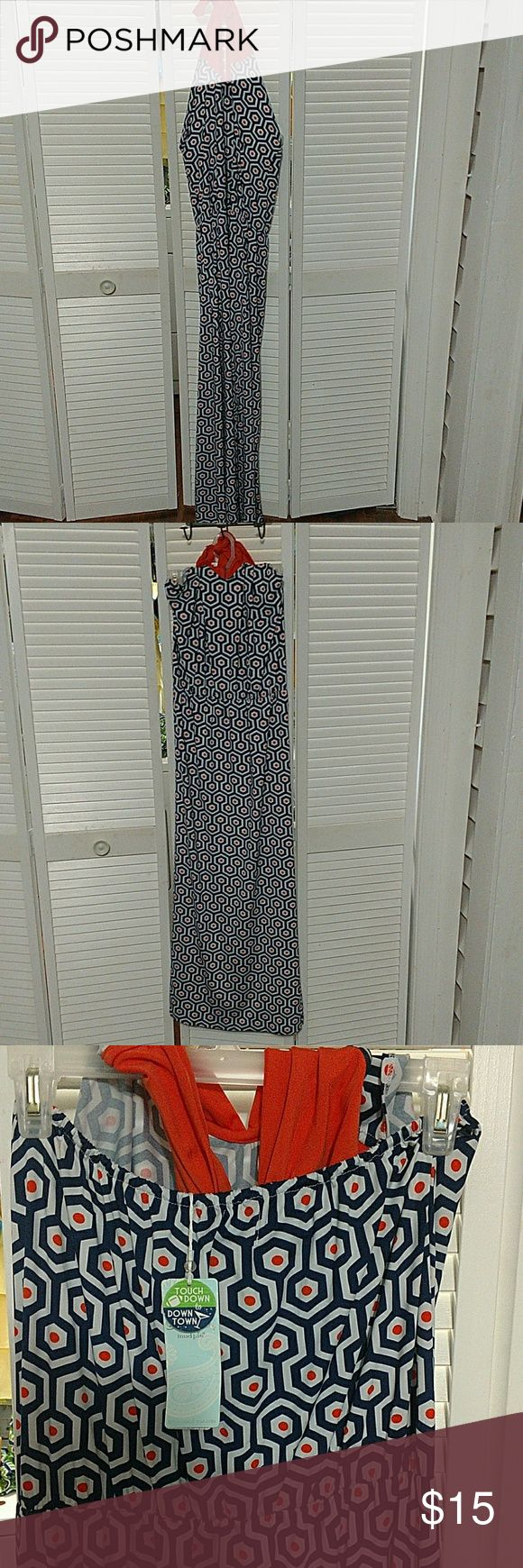 Mud Pie 3-way orange and navy maxi dress Mud Pie 3-way orange and navy maxi dress. Elastic for fitting detail at waist. Can be worn strapless with tie at front, halter tie around neck, and pareo with tie at bust and around neck. New with tags. Mud Pie Dresses Maxi