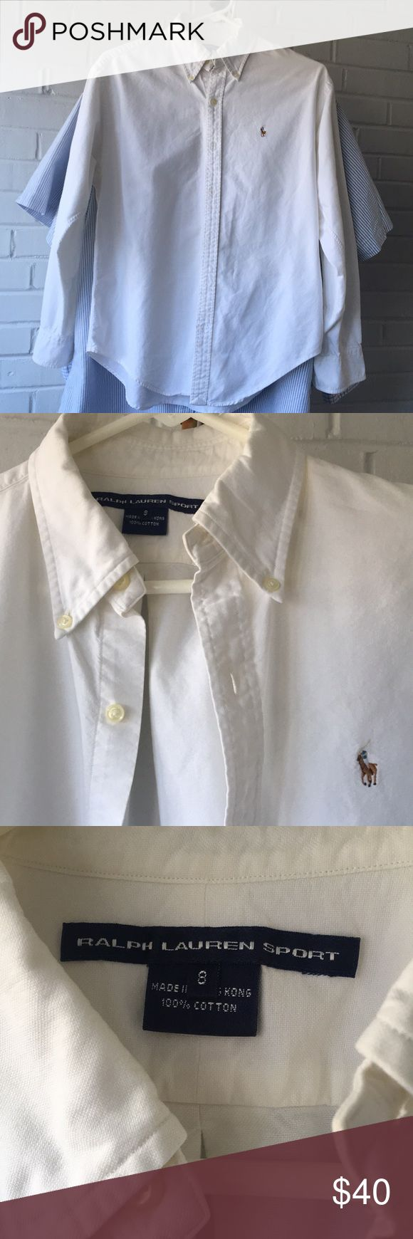 Ralph Lauren Polo Sport White Cotton Shirt Sz 8 Ladies Version of the RL classic Men's Yarmouth Button Down Shirt. Excellent like new Condition. Cleaned, Steamed, Crisp and ready for a new home. Polo by Ralph Lauren Tops Button Down Shirts