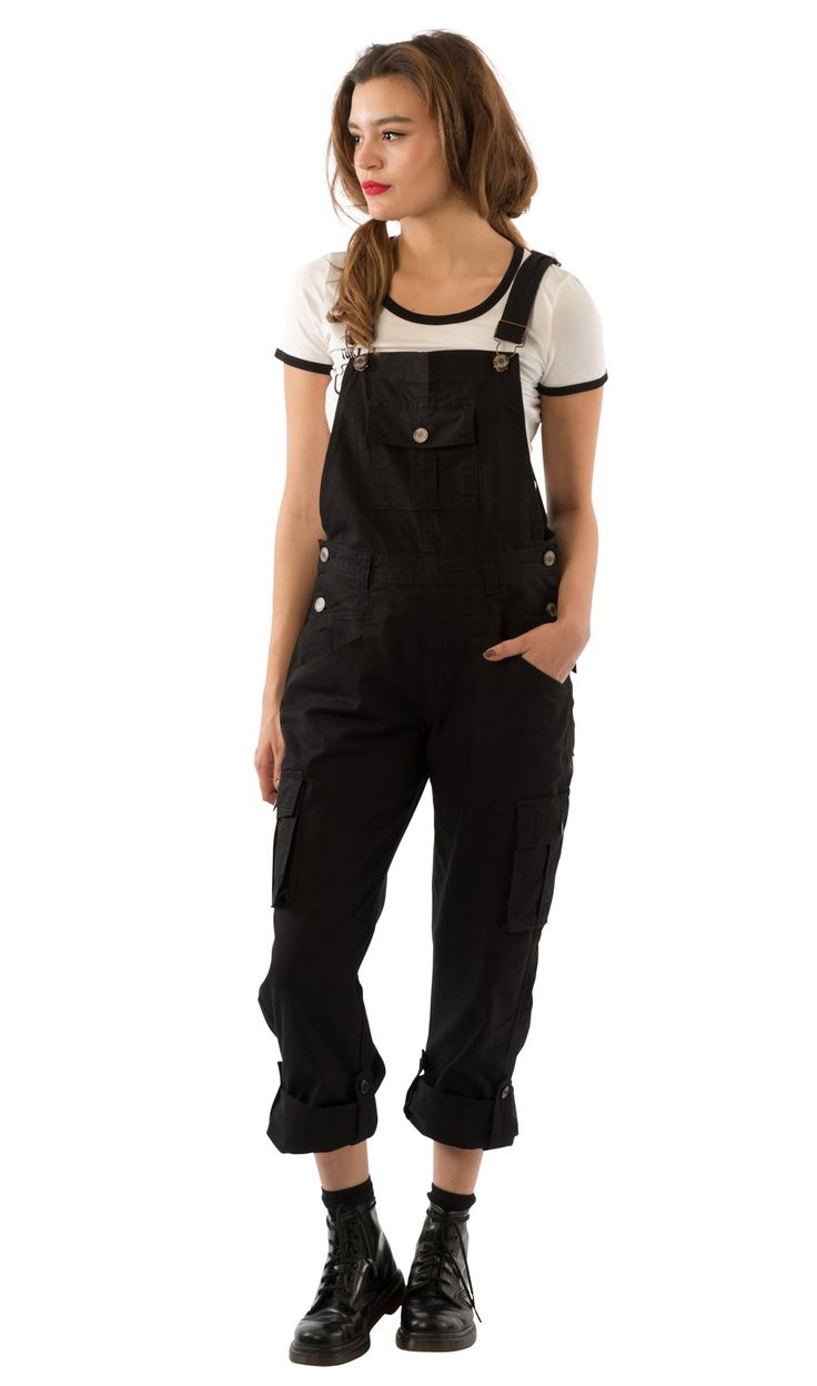 Cool #USKEES Daisy Women's Black Cotton Dungarees. #overalls #LoveUS | overalls | Pinterest ...