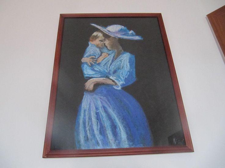 Žena a dítě Soft pastel - Woman and child