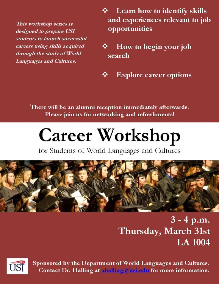TODAY!!!! Don't miss WLC's Career Workshop (3pm, LA 1004). Stay after the workshop for FREE FOOD and networking with WLC alumni. See you there!