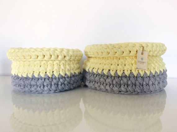 Set of 2 crochet baskets in two different sizes:  Big: 23 (17) x 12 cm  Medium: 20 (15) x 10 cm   Color: yellow and light grey   Material: cotton and lycra t-shirt yarn | trapillo | upcycled t-shirt yarn  Perfect as containers for cosmetics, fruits, toys or just as a home decor element.  Can be used in any room in your home: kitchen, bathroom, bedroom, living room or kids room.  Great gift idea