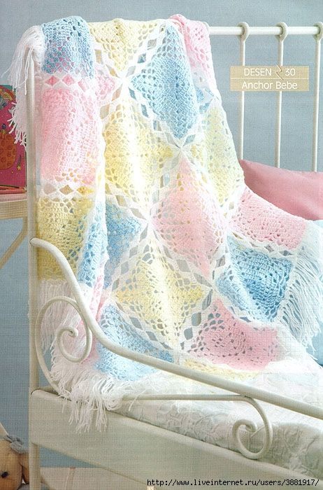 Pretty baby blanket with diagram