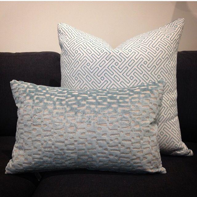 Baby blues. #throw #pillow #pillows #boys #room #nursery #blue #decor #mixed #prints  #designer #fabric  pillowsbydezign.com