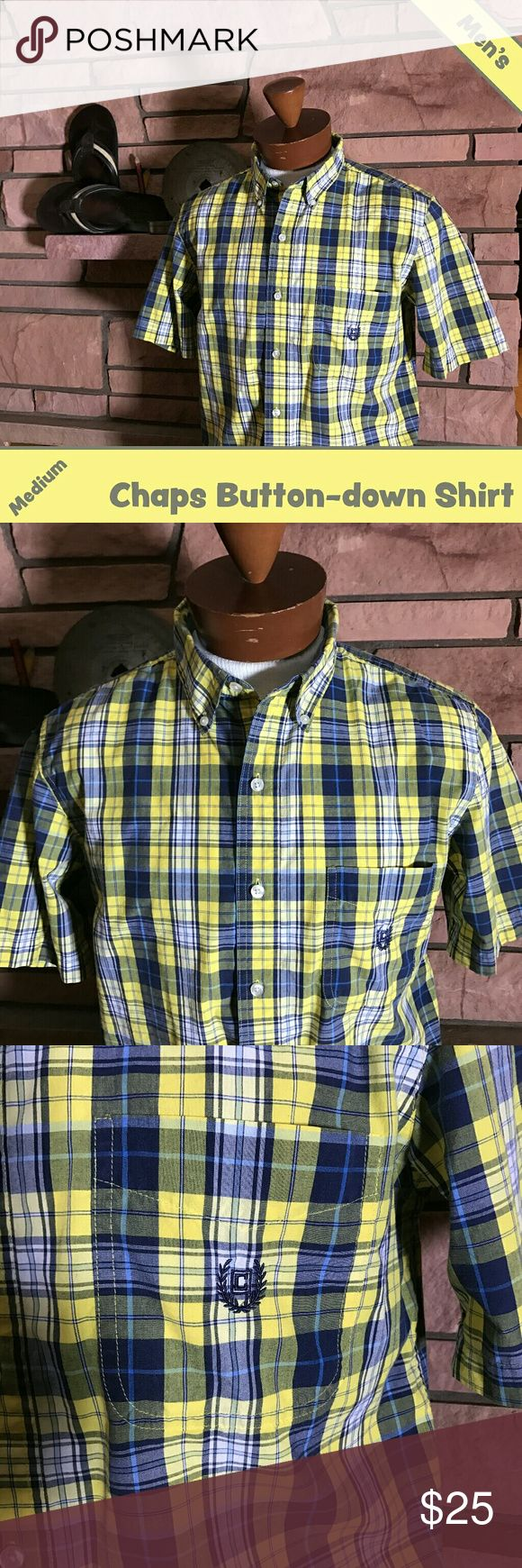 🍇 Men's Chaps Shirt This short sleeve button-down Chaps shirt will brighten up your warm weather wardrobe!  It is in EUC.  From a smoke-free and happy-to-bundle closet.   No trades or transactions outside of Poshmark.  [T488] Chaps Shirts Casual Button Down Shirts