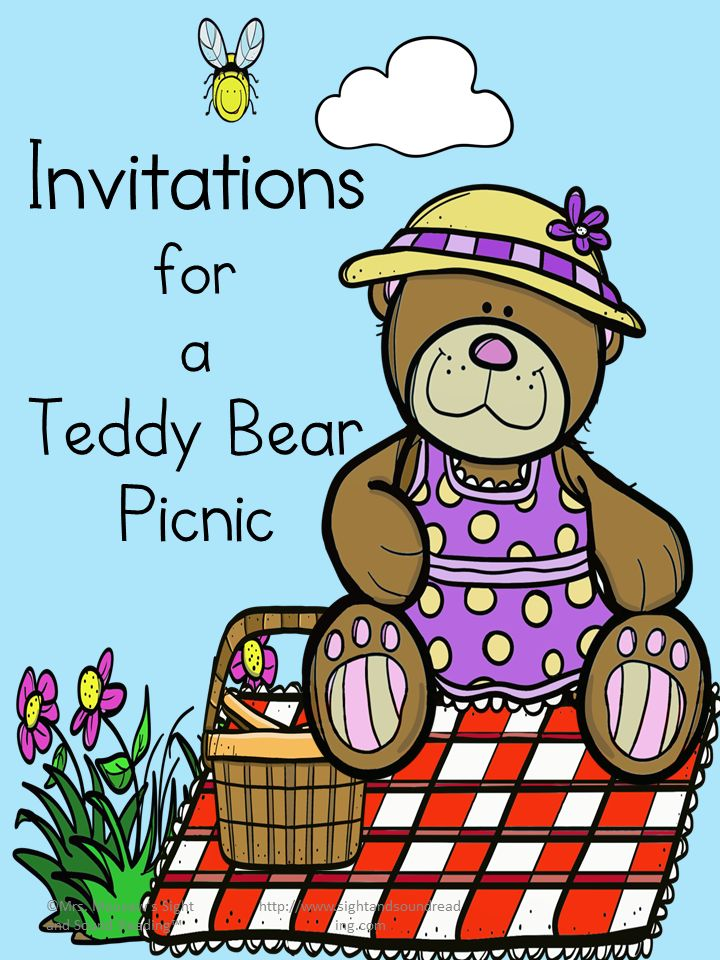 Preschool or Kindergarten Activity:  Teddy Bear Picnic Invitations - Cute, free,and printable.