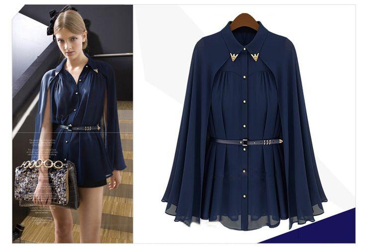 Aliexpress.com: Compre Mulheres verão solto Tops relógio cabo magro elegante Chiffon blusa com cinto azul / damasco vestido de confiança blusas atacado fornecedores em Fashion Lady Lau.