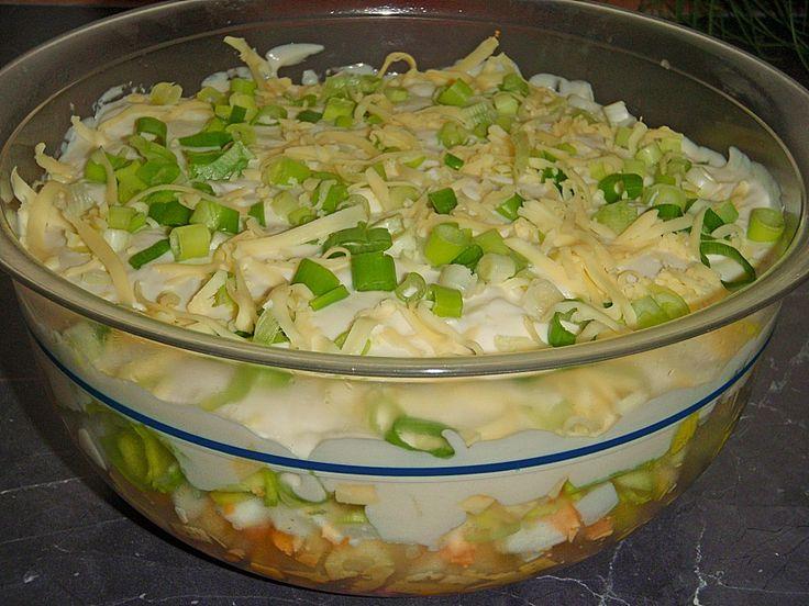 Chefkoch.de Rezept: Fruchtig - pikanter Schichtsalat