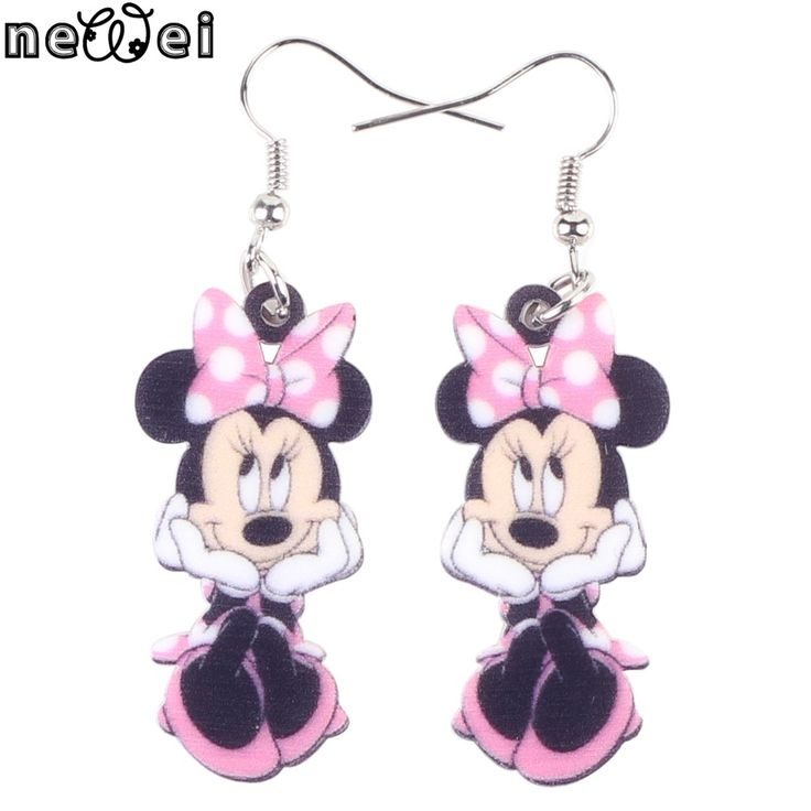 Newei Long Drop Brand Cute Smile Mouse Earrings Acrylic New 2015 Animal Jewelry Girls Women Cartoon Child Earrings Accessories