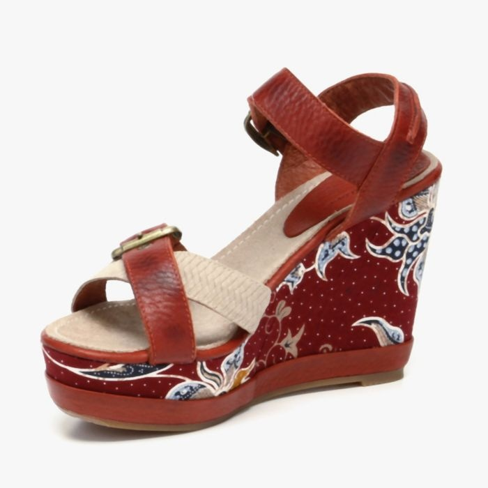 Batik Wedge Sandals In Rust