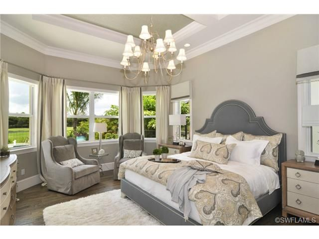 Gray Neutral Restful Master Bedroom Wood Floors Chandelier Golf View By Imperial Homes