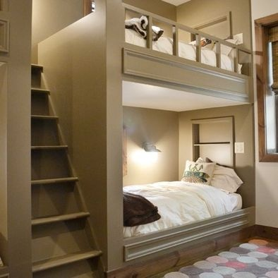 This is a very nice set of beds (I hesitate to call them bunk beds!) that would work well in a loft situation. The narrow steep steps to the upper bed could also access the entire loft space with little loss of floor space.