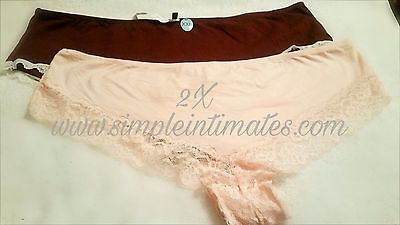 Plus Size Panties 2X / 3X Women's Full Panty Intimates Lace Trim 2 Pack