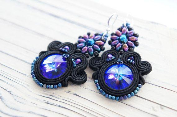 Soutache swarovski earrings braid by CattaleyaJewelry on Etsy
