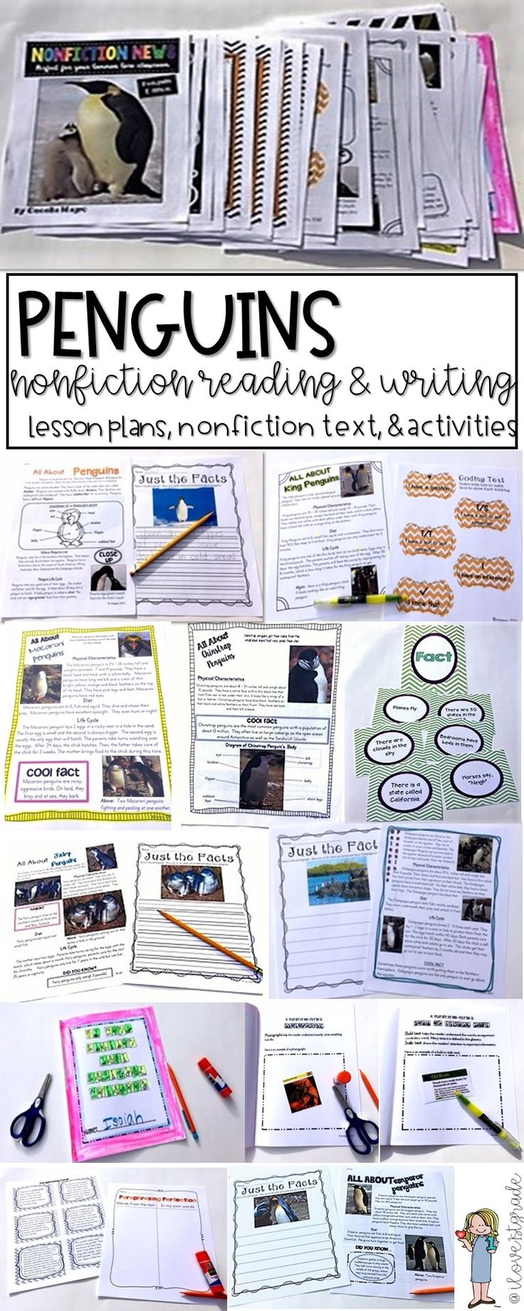 This 124 page product is what you need to implement ELA Common Core Standards in your classroom. It includes nonfiction articles for close reading on penguins - All About Penguins, King, African, Gentoo, Adelie, Galapagos, Chinstrap, Fairy, Emperor, Rockhopper and Macaroni Penguins. The nonfiction articles include stunning photographs and nonfiction text features. They can be used in guided reading groups or whole class. They are a great way to practice close reading and answering text…