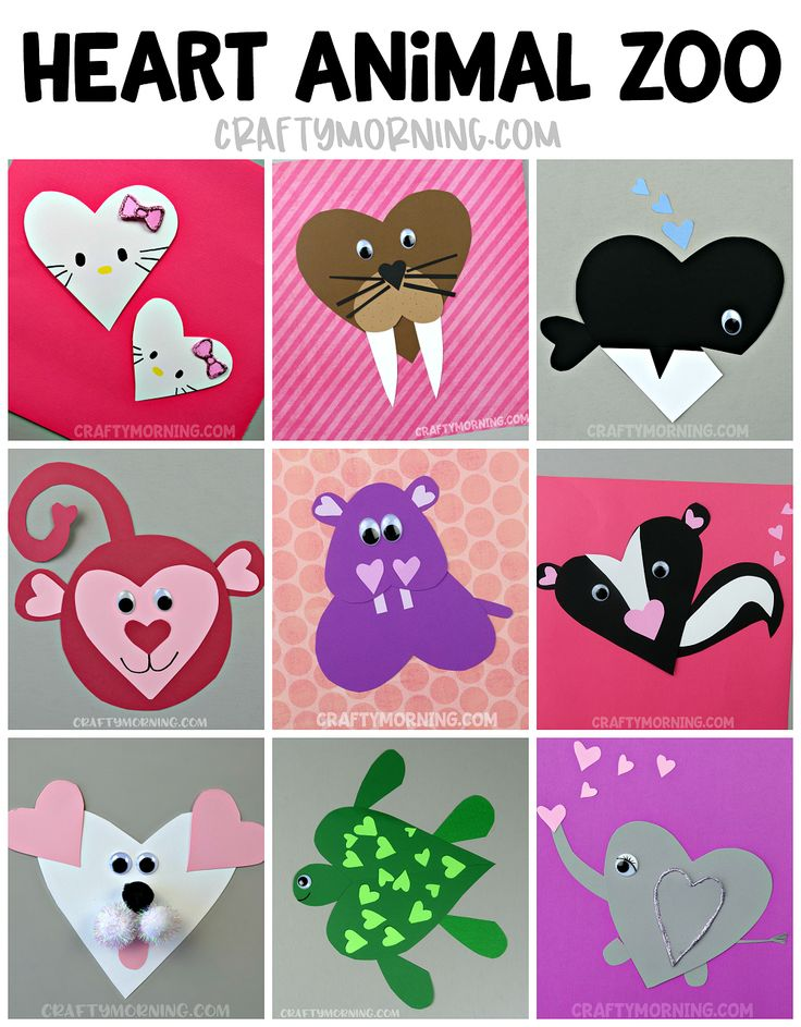 Make a whole heart animal ZOO!! Cute paper crafts for the kids to make on valentines day!