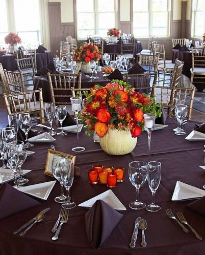 Pumpkin Thank's Giving Wedding Centerpiece with roses and mums by Limelight Floral Design Wedding Florist Hoboken NJ