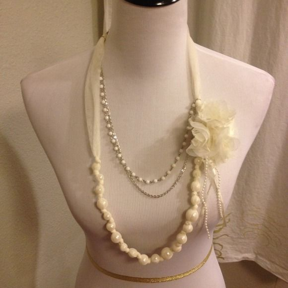 Lace wrapped pearls, chain, beads, flower corsage Romantic necklace. Bundle for discount. Topshop Jewelry