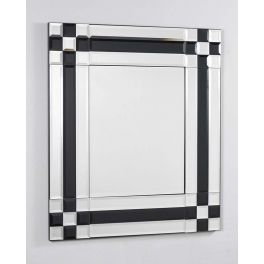 Beveled glass mirror with beautiful black glass insets to create an amazing look.