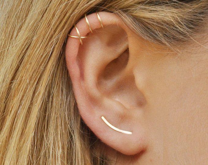 Set di 3 - orecchio scalatore orecchino (sinistra o destra o coppia) + incrociato Ear Cuff + doppio Ear Cuff Molto fresco ed elegante insieme * * *  * È possibile scegliere uno o una coppia di scalatori di orecchio.  Ci sono oggetti molto più interessante nel mio negozio su Etsy. Visita e controllare i saldi e Sconti: http://etsy.me/1NZ8Q7A Per naso anello - anello di cartilagine: http://etsy.me/1PAQL4c Per orecchini a cerchio: http://etsy.me/1mods...