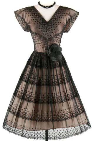 1950's Cocktail dress: 50 S Dresses, Cocktails Dresses, Vintage Cocktails, 50 S Vintage, Parties Dresses, Black Lace Dresses, Cocktails Parties, 50S Dresses, Vintage Clothing