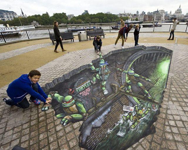 Dude, street art turns Teenage Mutant Ninja Turtles 3D