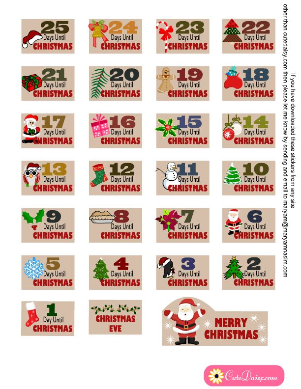 free printable countdown stickers for Christmas