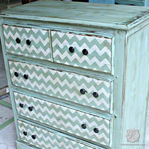 Our modern Chevron Furniture Stencil sized for craft and furniture stenciling…