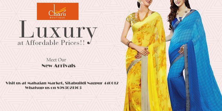 Look graceful like never before by draping our beautiful range of printed #sarees by #CharuBoutique
