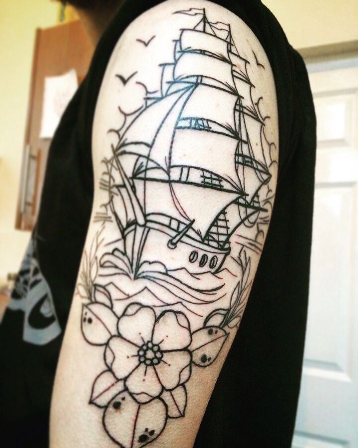 Traditional ship tattoo sleeve