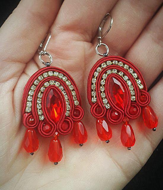 biżuteria soutache, haft koralikowy, torby z filcu: Czerwone
