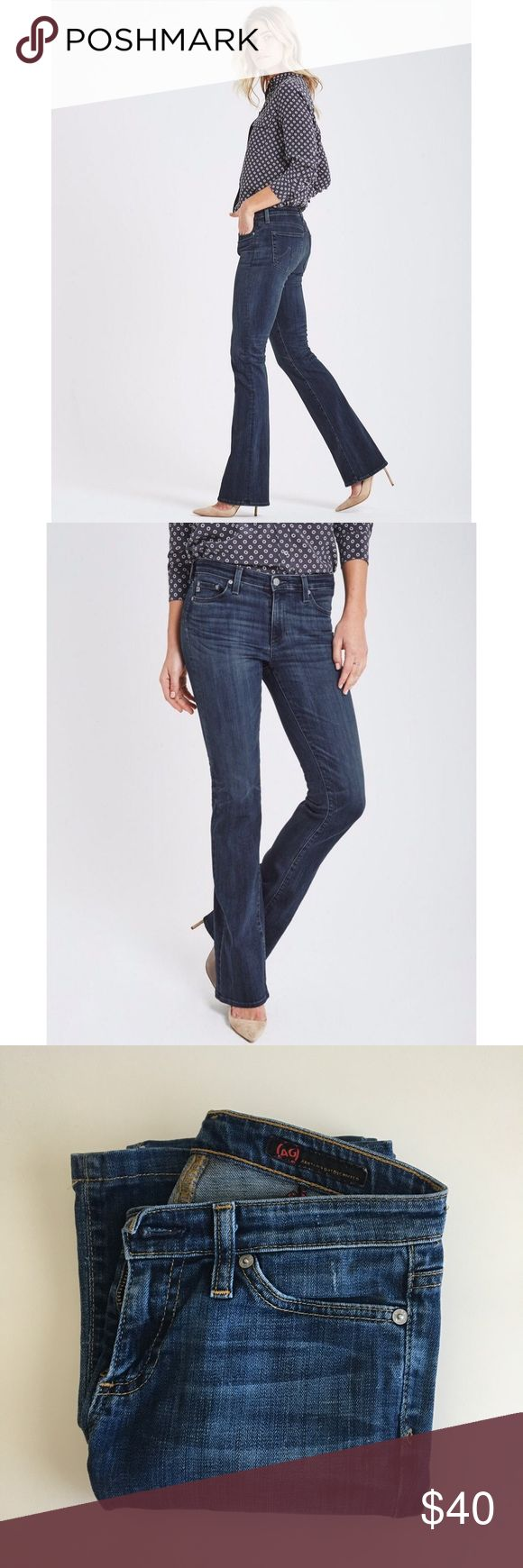 """AG Jeans The Angel Our classic bootcut jean features a fitted shape from hip to knee and opens into a gentle flare at the hem. Washed for a deep indigo shade with a gently faded finish. Zip fly, button closure. Inseam 29 1/2"""" Ag Adriano Goldschmied Jeans Boot Cut"""