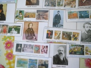 Impressionist painters gallery wall chart with portraits and paintings- for kids